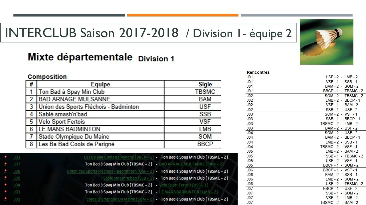 équipe 2 saison 2017 2018
